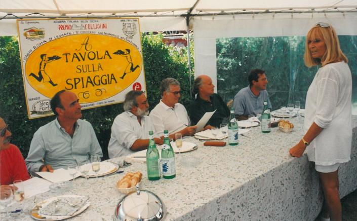 1994 - Forte dei Marmi, bagno Roma Levante - Riccardo Marasco, Enrico Ferri, Tony May, Giancarlo Aneri, Alessandro Vannucci e la concorrente Fiamma Breschi