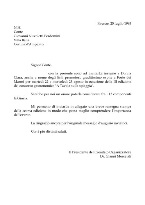 L'invito al Conte Giovanni Nuvoletti Perdomini